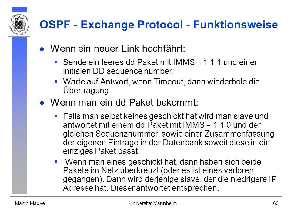 Martin MauveUniversität Mannheim60 OSPF - Exchange Protocol - Funktionsweise Wenn ein neuer Link hochfährt: Sende ein leeres dd Paket mit IMMS = 1 1 1