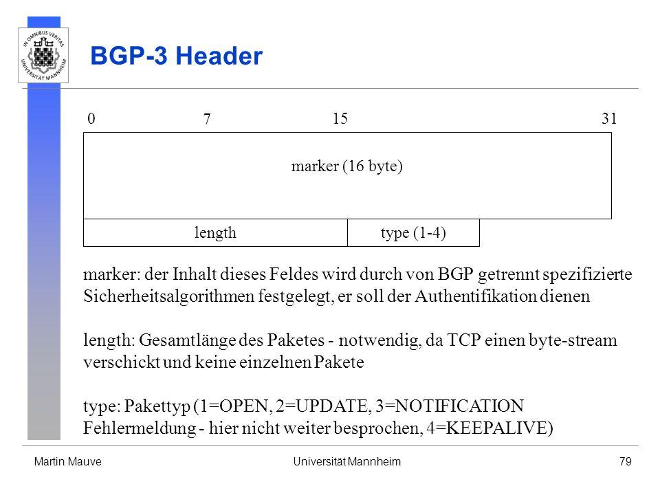 Martin MauveUniversität Mannheim79 BGP-3 Header 0 7 1531 lengthtype (1-4) marker (16 byte) marker: der Inhalt dieses Feldes wird durch von BGP getrenn