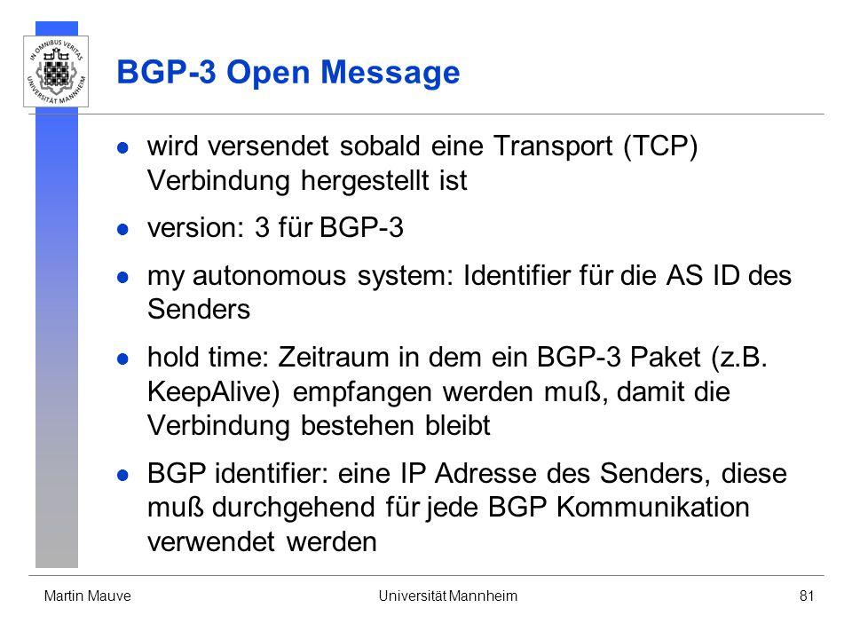 Martin MauveUniversität Mannheim81 BGP-3 Open Message wird versendet sobald eine Transport (TCP) Verbindung hergestellt ist version: 3 für BGP-3 my au