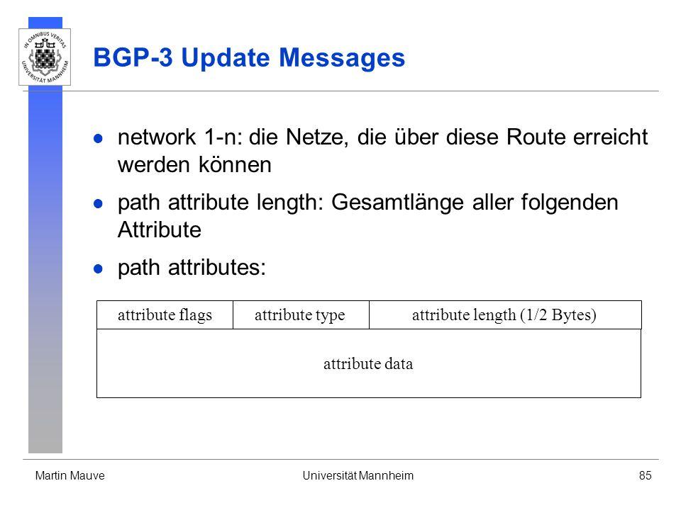 Martin MauveUniversität Mannheim85 BGP-3 Update Messages network 1-n: die Netze, die über diese Route erreicht werden können path attribute length: Ge