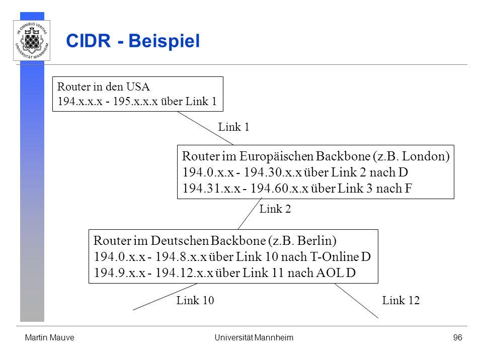 Martin MauveUniversität Mannheim96 CIDR - Beispiel Router in den USA 194.x.x.x - 195.x.x.x über Link 1 Link 1 Router im Europäischen Backbone (z.B. Lo