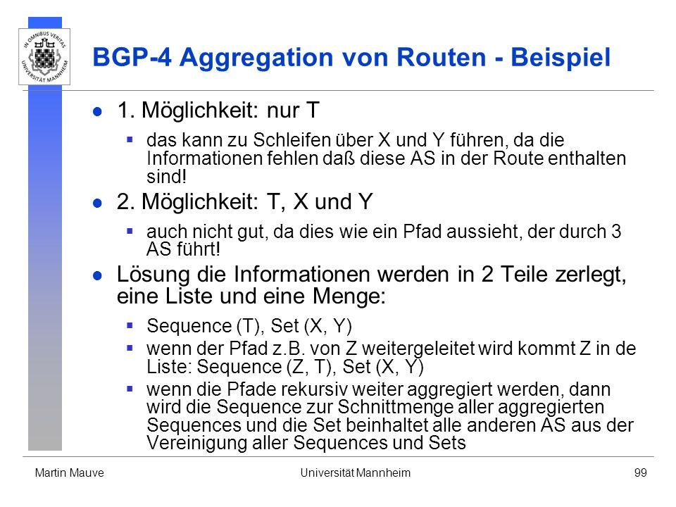 Martin MauveUniversität Mannheim99 BGP-4 Aggregation von Routen - Beispiel 1. Möglichkeit: nur T das kann zu Schleifen über X und Y führen, da die Inf
