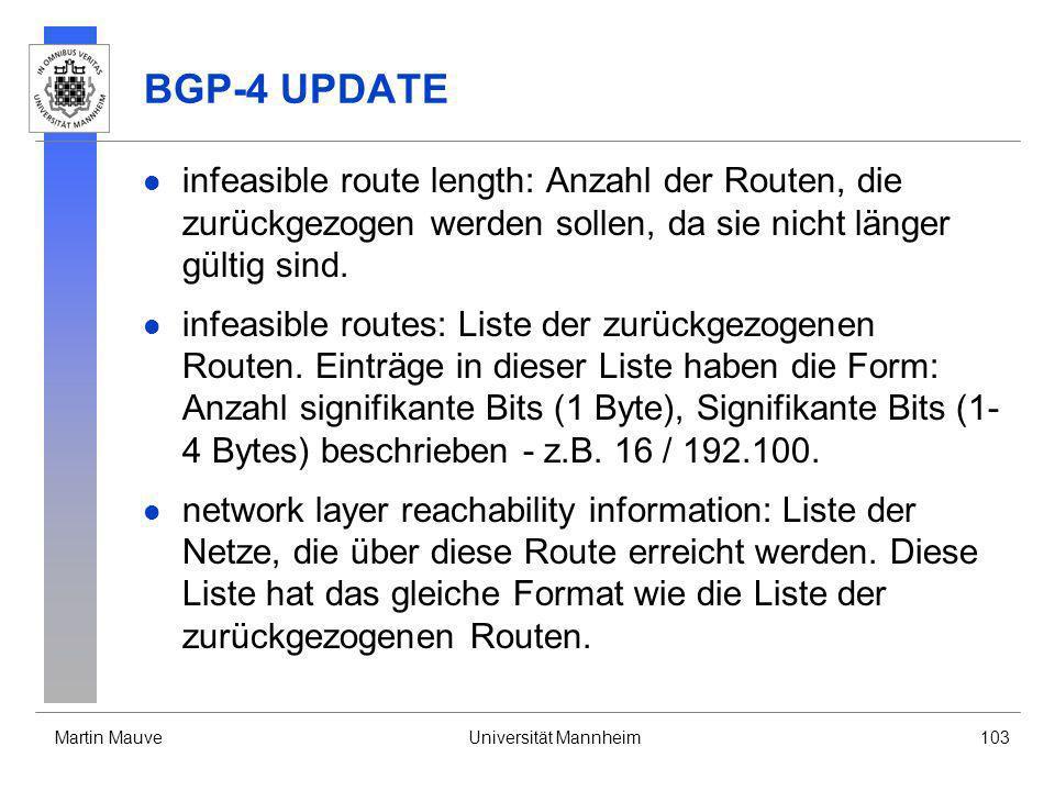 Martin MauveUniversität Mannheim103 BGP-4 UPDATE infeasible route length: Anzahl der Routen, die zurückgezogen werden sollen, da sie nicht länger gült