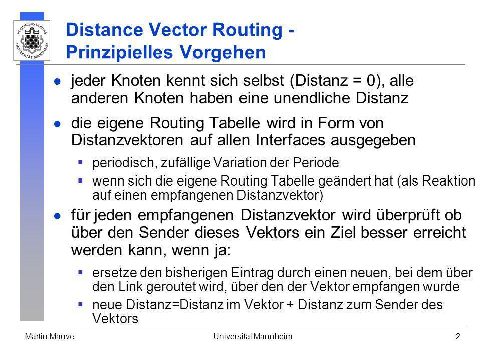 Martin MauveUniversität Mannheim43 Link State Routing - Bringing Up Adjacencies FromLinkCost A1inf A31 B1 B21 B41 To B D A C E C21B C51 D31 D6inf E41 E51 E A E B C E61D Number 2 1 2 1 1 1 1 1 2 1 1 1 Datenbank von A und D FromLinkCost A1inf A31 B1 B2 B41 To B D A C E C2infB C51 D31 D61 E41 E51 E A E B C E6 D Number 2 1 2 2 1 2 1 1 1 1 1 2 Datenbank von B, C und E