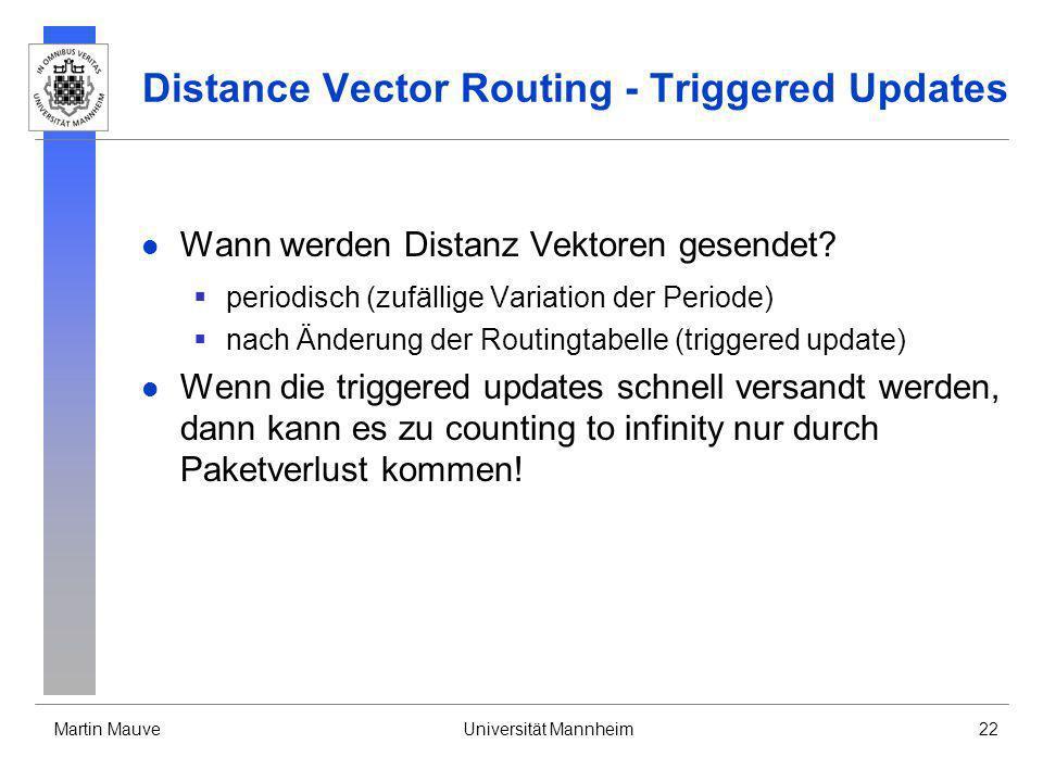 Martin MauveUniversität Mannheim22 Distance Vector Routing - Triggered Updates Wann werden Distanz Vektoren gesendet? periodisch (zufällige Variation