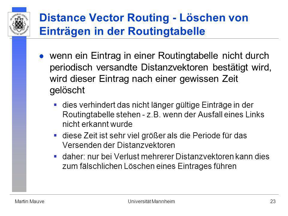 Martin MauveUniversität Mannheim23 Distance Vector Routing - Löschen von Einträgen in der Routingtabelle wenn ein Eintrag in einer Routingtabelle nich