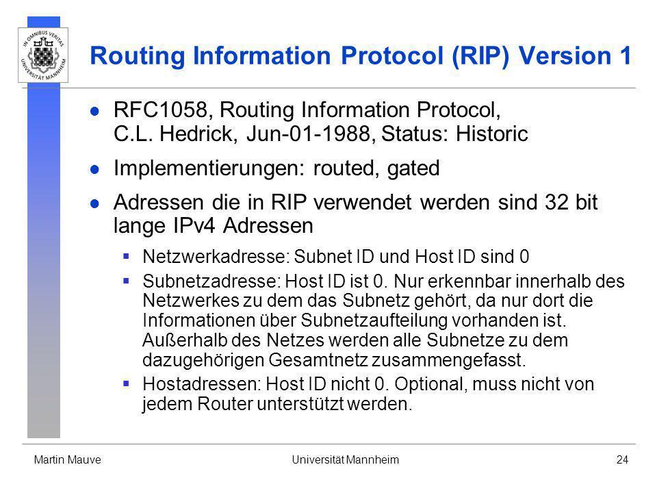 Martin MauveUniversität Mannheim24 Routing Information Protocol (RIP) Version 1 RFC1058, Routing Information Protocol, C.L. Hedrick, Jun-01-1988, Stat