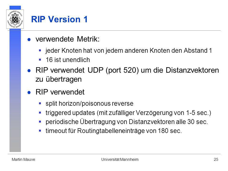 Martin MauveUniversität Mannheim25 RIP Version 1 verwendete Metrik: jeder Knoten hat von jedem anderen Knoten den Abstand 1 16 ist unendlich RIP verwe
