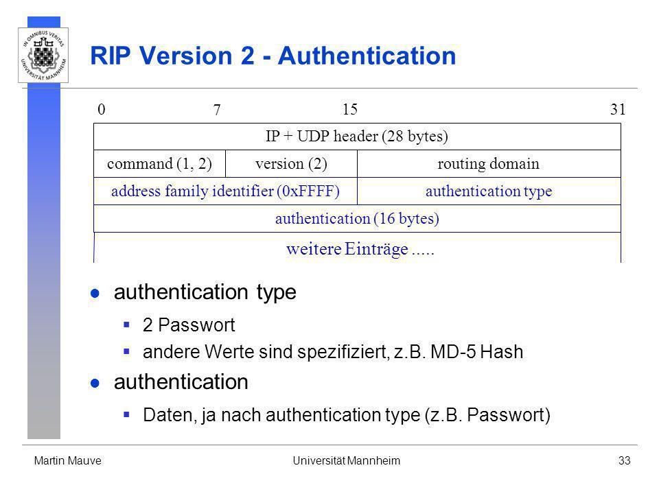 Martin MauveUniversität Mannheim33 RIP Version 2 - Authentication authentication type 2 Passwort andere Werte sind spezifiziert, z.B. MD-5 Hash authen