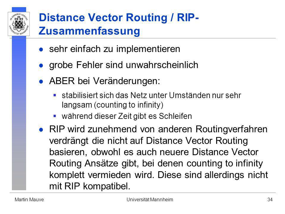 Martin MauveUniversität Mannheim34 Distance Vector Routing / RIP- Zusammenfassung sehr einfach zu implementieren grobe Fehler sind unwahrscheinlich AB