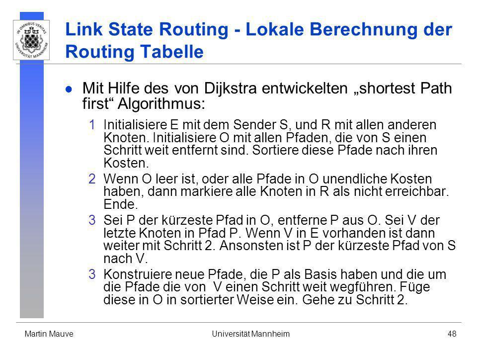Martin MauveUniversität Mannheim48 Link State Routing - Lokale Berechnung der Routing Tabelle Mit Hilfe des von Dijkstra entwickelten shortest Path fi