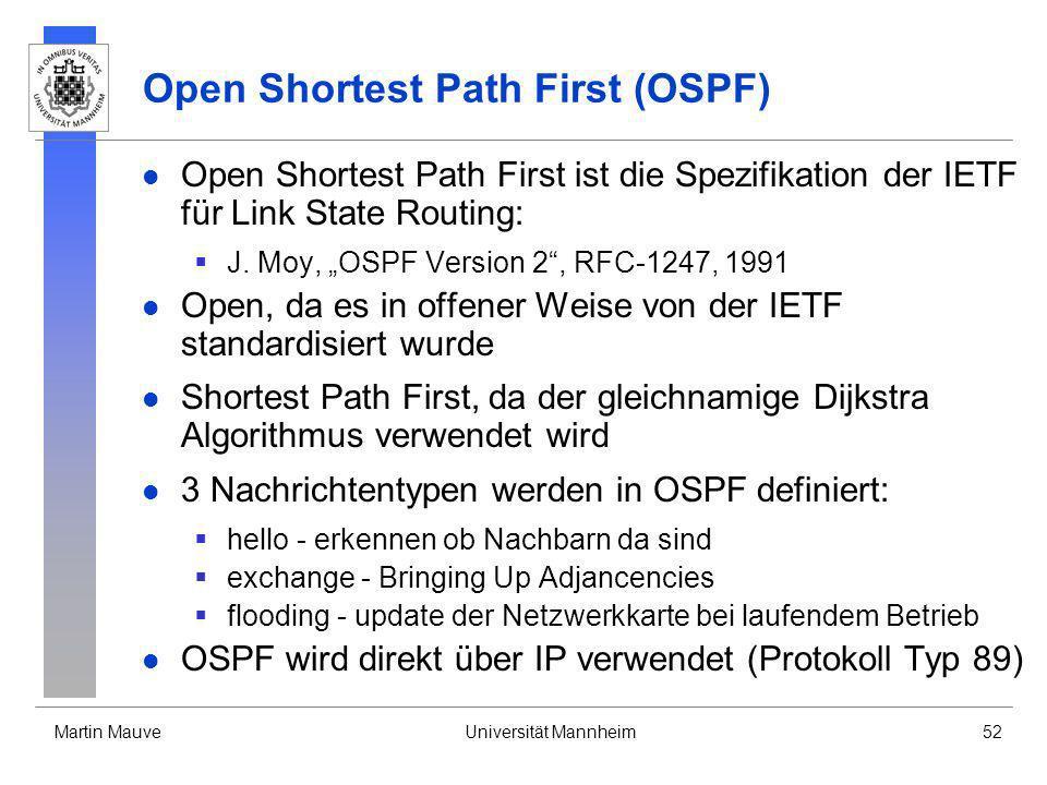 Martin MauveUniversität Mannheim52 Open Shortest Path First (OSPF) Open Shortest Path First ist die Spezifikation der IETF für Link State Routing: J.