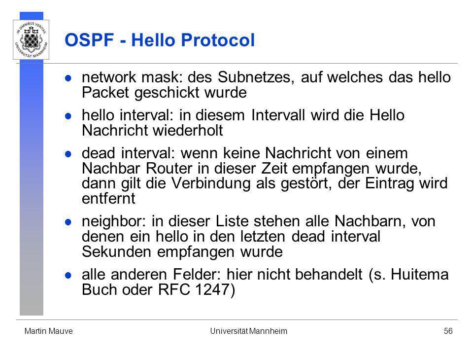 Martin MauveUniversität Mannheim56 OSPF - Hello Protocol network mask: des Subnetzes, auf welches das hello Packet geschickt wurde hello interval: in