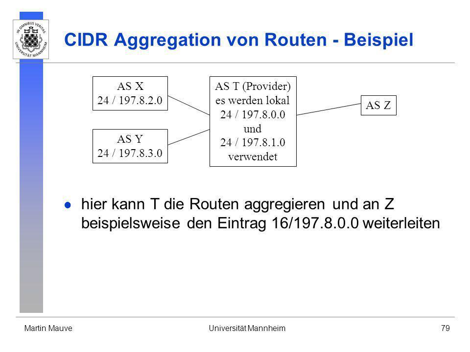 Martin MauveUniversität Mannheim79 CIDR Aggregation von Routen - Beispiel hier kann T die Routen aggregieren und an Z beispielsweise den Eintrag 16/19