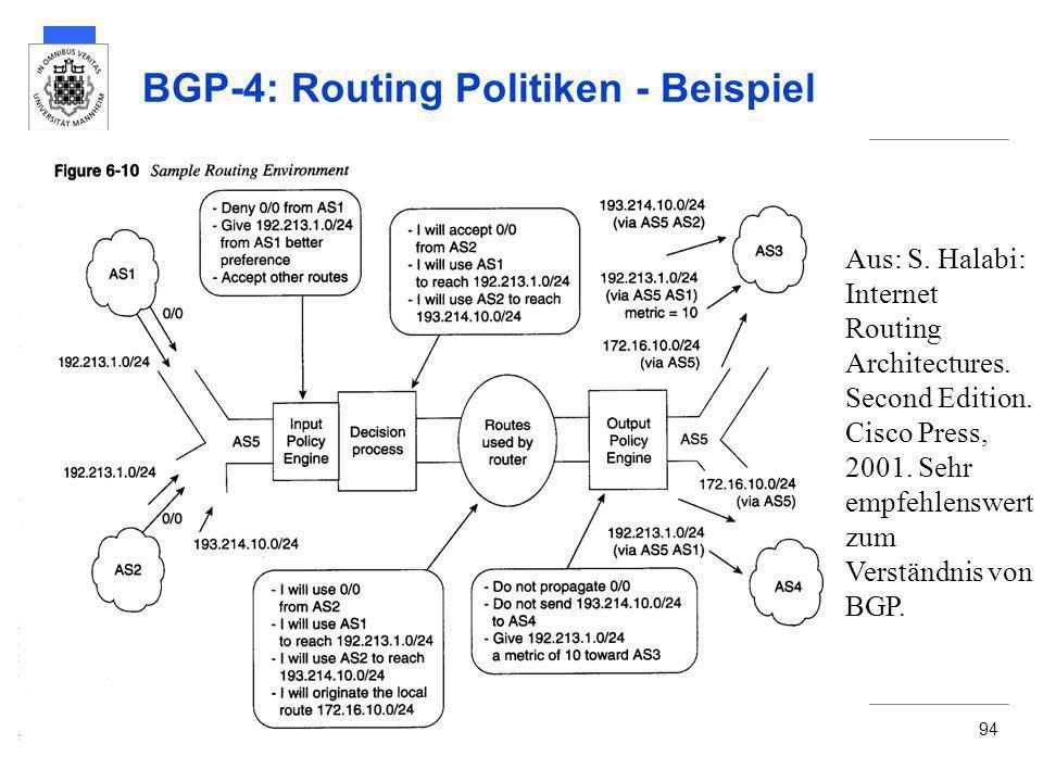 Martin MauveUniversität Mannheim94 BGP-4: Routing Politiken - Beispiel Aus: S. Halabi: Internet Routing Architectures. Second Edition. Cisco Press, 20