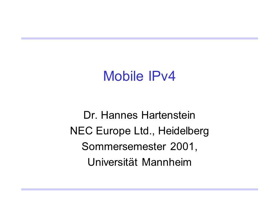 Mobile IPv4 Dr.