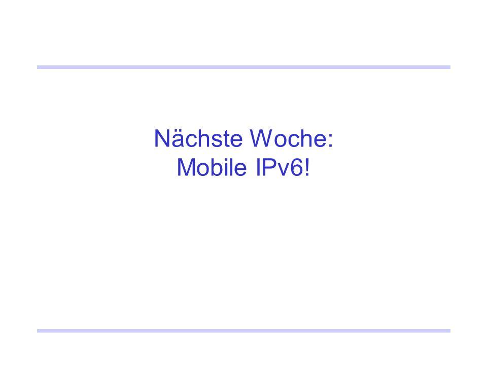 Nächste Woche: Mobile IPv6!
