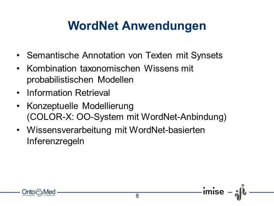 6 WordNet Anwendungen Semantische Annotation von Texten mit Synsets Kombination taxonomischen Wissens mit probabilistischen Modellen Information Retrieval Konzeptuelle Modellierung (COLOR-X: OO-System mit WordNet-Anbindung) Wissensverarbeitung mit WordNet-basierten Inferenzregeln