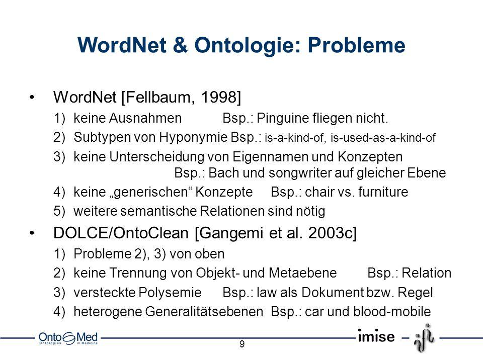 10 OntoWordNet: Ziel & Commitments Ziel:Umwandlung von WordNet in eine formale Spezifikation Commitments: –logisch:Synsets Typen, formale Semantik für lexikalische Relationen –ontologisch:Trennung in Konzepte, Relationen, Individuen –kontextuell:Modularisierung nach Domänen, partiell geordnet –semiotisch: textorientierte Angabe von Präferenzen, Frequenzen, etc.