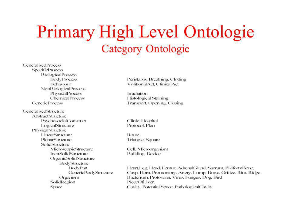Primary High Level Ontologie Category Ontologie