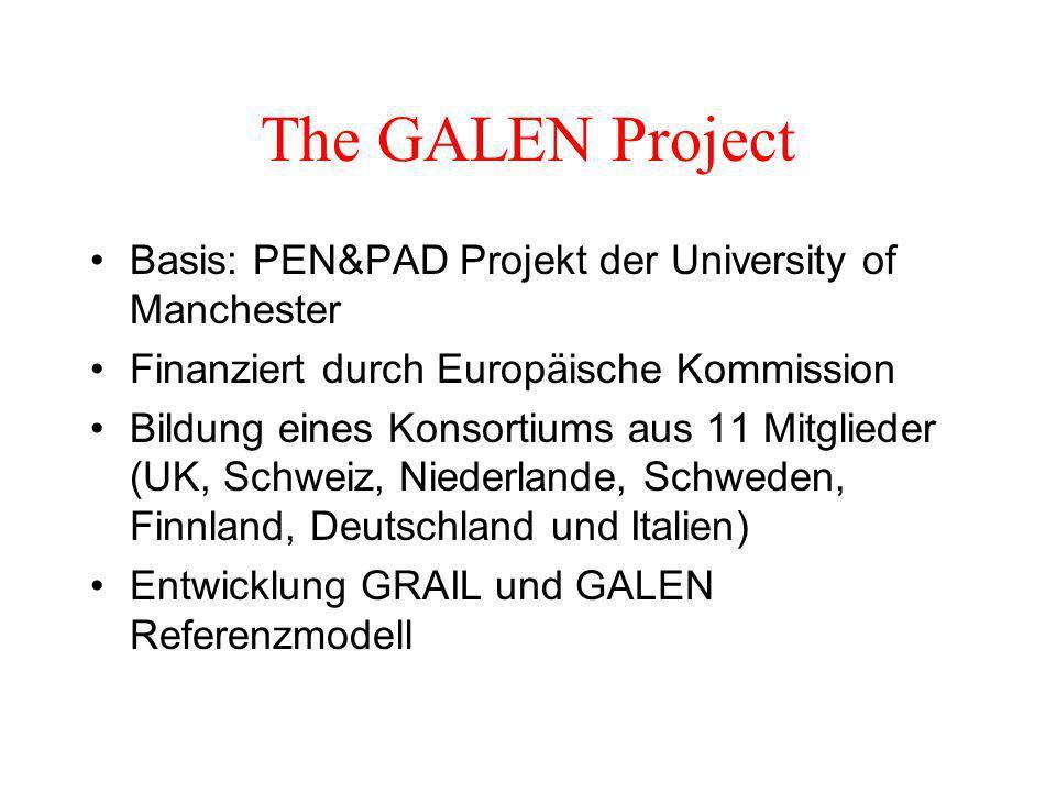 The GALEN Project Basis: PEN&PAD Projekt der University of Manchester Finanziert durch Europäische Kommission Bildung eines Konsortiums aus 11 Mitglieder (UK, Schweiz, Niederlande, Schweden, Finnland, Deutschland und Italien) Entwicklung GRAIL und GALEN Referenzmodell