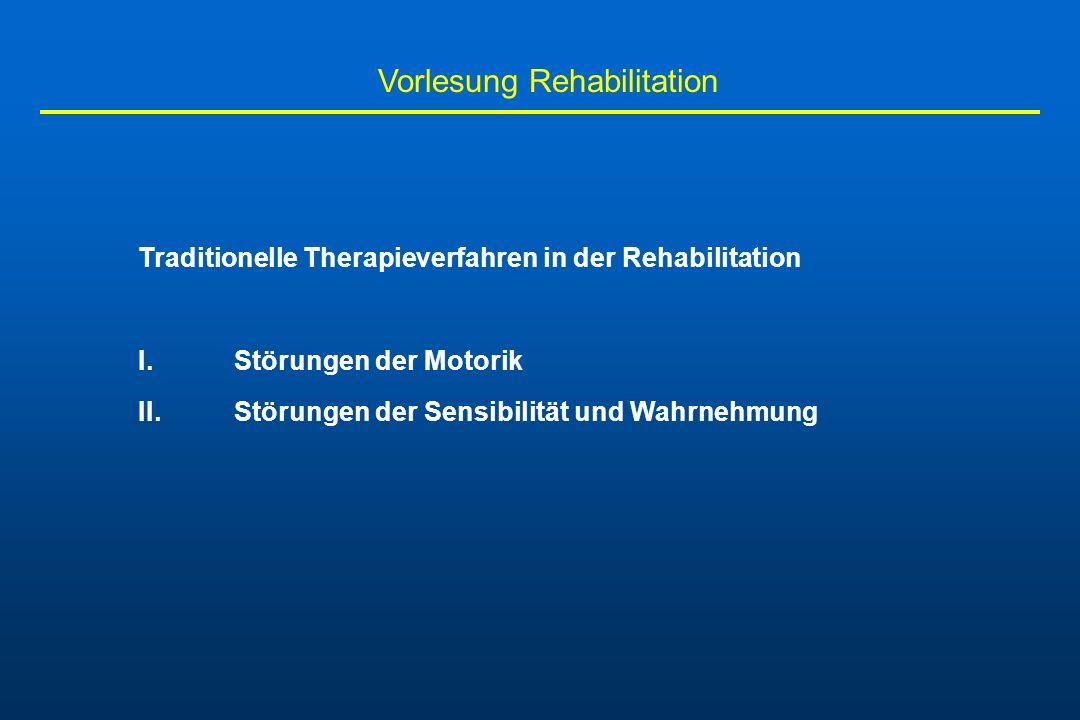 Vorlesung Rehabilitation - Patient wird aufgefordert, die gelähmte Extremität zu bewegen, während er gleichzeitig kontralateral symmetrisch gegen mechanischen Widerstand kontrahiert - gegebenenfalls werden auch ipsilaterale proximale Bewegungen initiiert - dabei werden zunächst durch Irradiationseffekte bei der Mehrzahl der Patienten grobe synergistische Massenbewegungen der paretischen Extremität ausgelöst