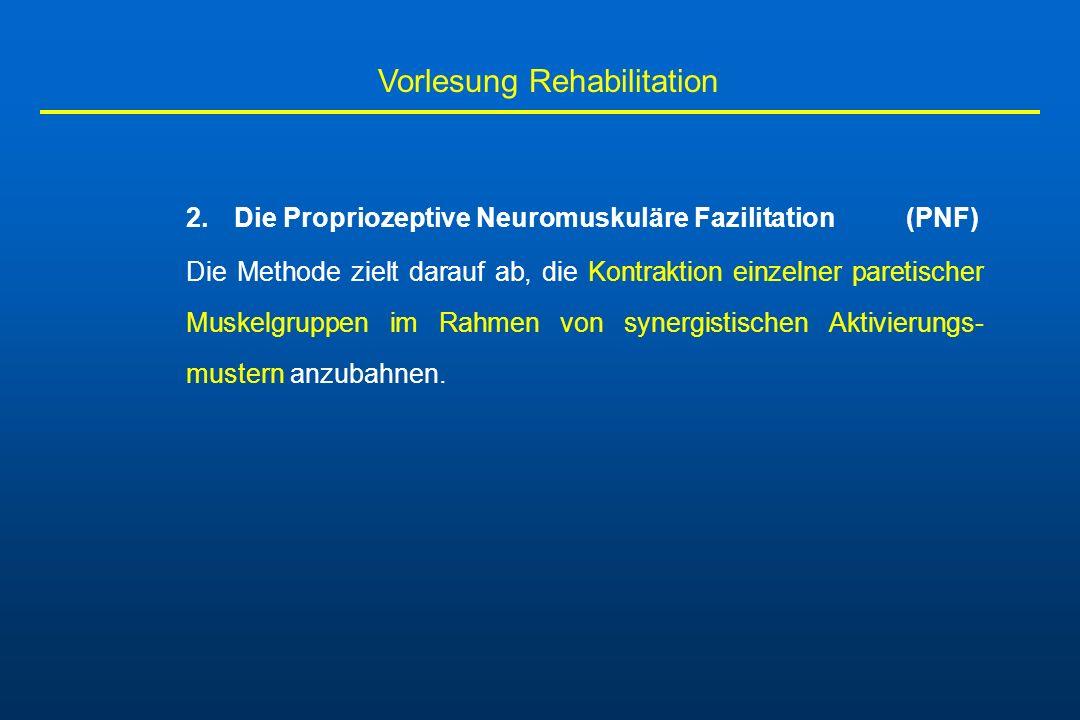 Vorlesung Rehabilitation 2.Die Propriozeptive Neuromuskuläre Fazilitation (PNF) Die Methode zielt darauf ab, die Kontraktion einzelner paretischer Mus
