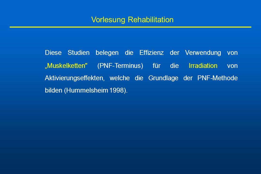 Vorlesung Rehabilitation Diese Studien belegen die Effizienz der Verwendung von Muskelketten