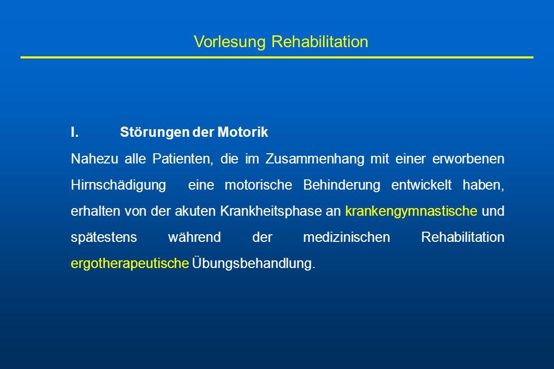 Vorlesung Rehabilitation Grundsteine der rehabilitativen Förderung: -Bewegungsanbahnung um erwünschte motorische Abläufe erneut zu ermöglichen - Hemmung störender motorischer Symptome wie die spastische Tonuserhöhung