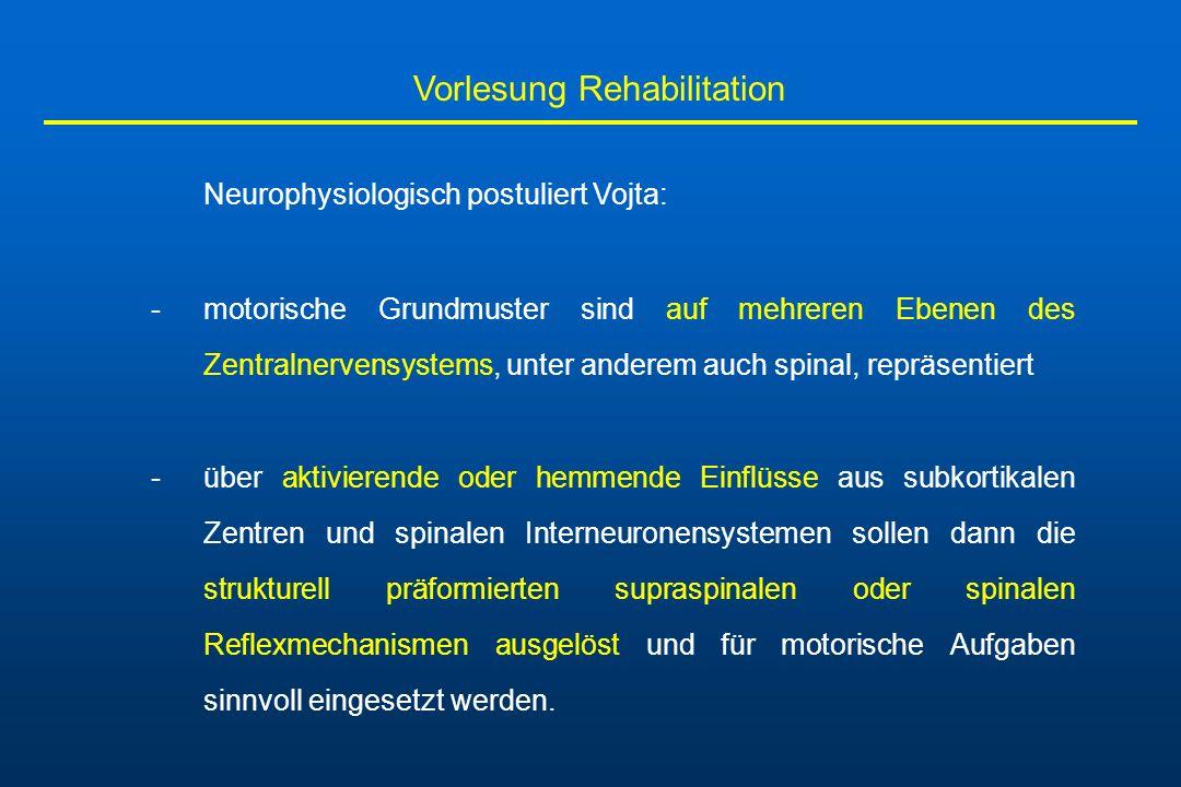 Vorlesung Rehabilitation Neurophysiologisch postuliert Vojta: -motorische Grundmuster sind auf mehreren Ebenen des Zentralnervensystems, unter anderem