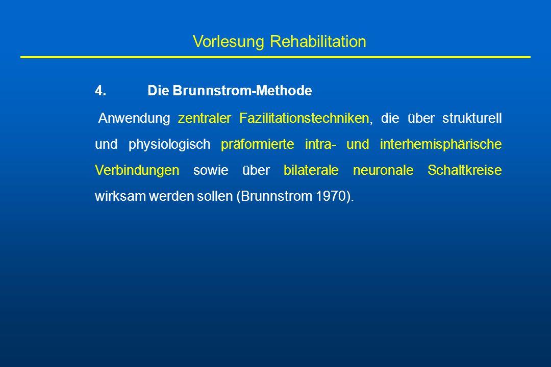 Vorlesung Rehabilitation 4. Die Brunnstrom-Methode Anwendung zentraler Fazilitationstechniken, die über strukturell und physiologisch präformierte int