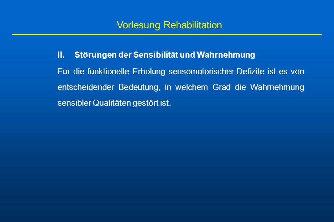 Vorlesung Rehabilitation II. Störungen der Sensibilität und Wahrnehmung Für die funktionelle Erholung sensomotorischer Defizite ist es von entscheiden