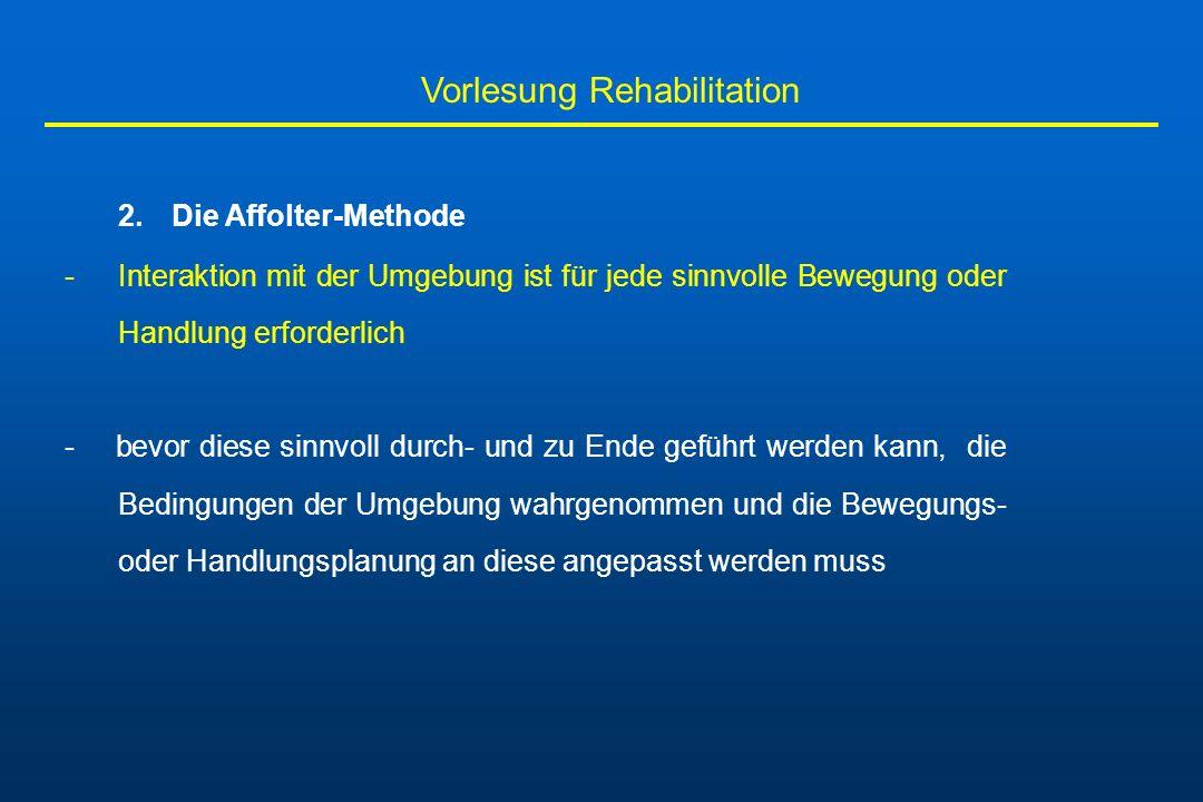 Vorlesung Rehabilitation 2.Die Affolter-Methode -Interaktion mit der Umgebung ist für jede sinnvolle Bewegung oder Handlung erforderlich - bevor diese