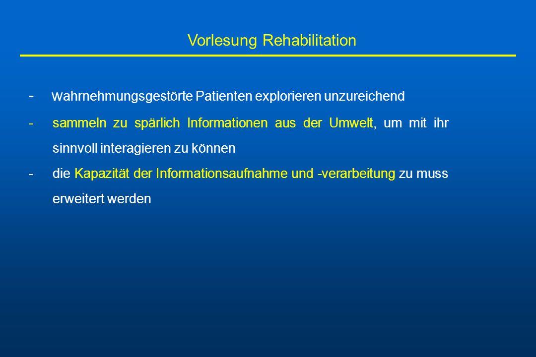 Vorlesung Rehabilitation - w ahrnehmungsgestörte Patienten explorieren unzureichend -sammeln zu spärlich Informationen aus der Umwelt, um mit ihr sinn