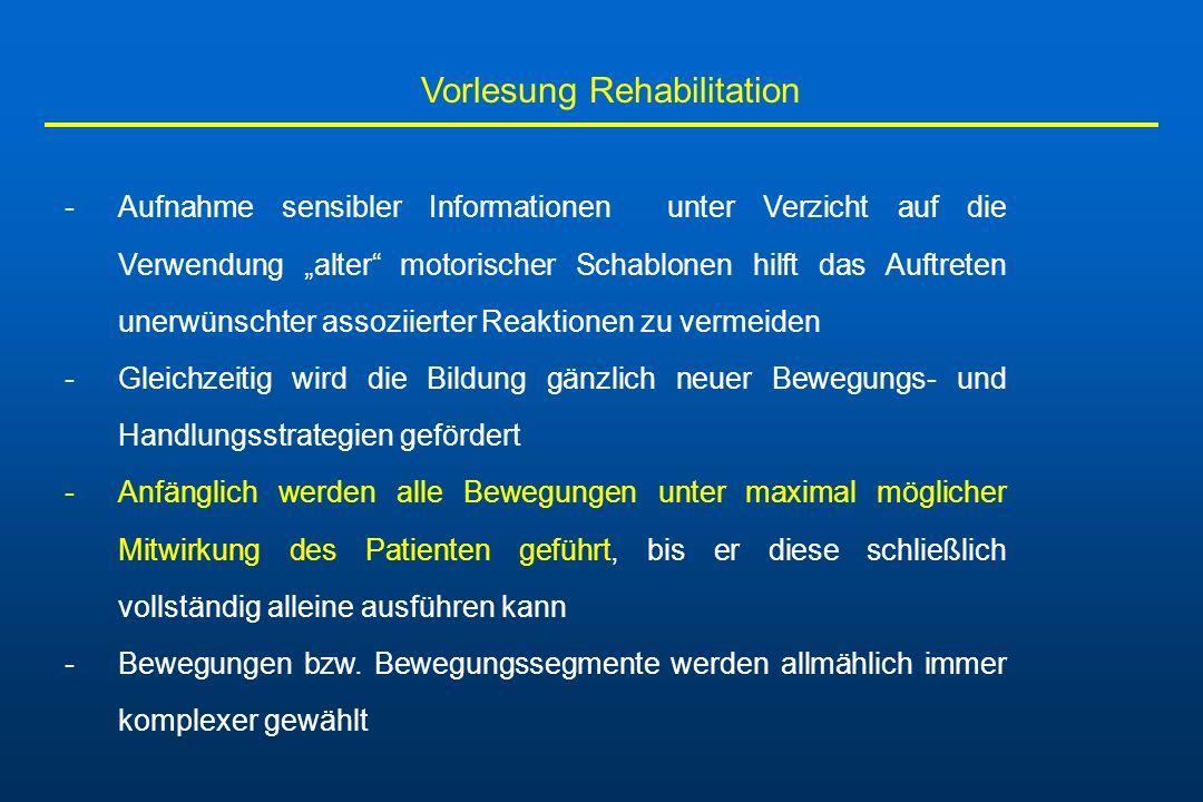 Vorlesung Rehabilitation -Aufnahme sensibler Informationen unter Verzicht auf die Verwendung alter motorischer Schablonen hilft das Auftreten unerwüns