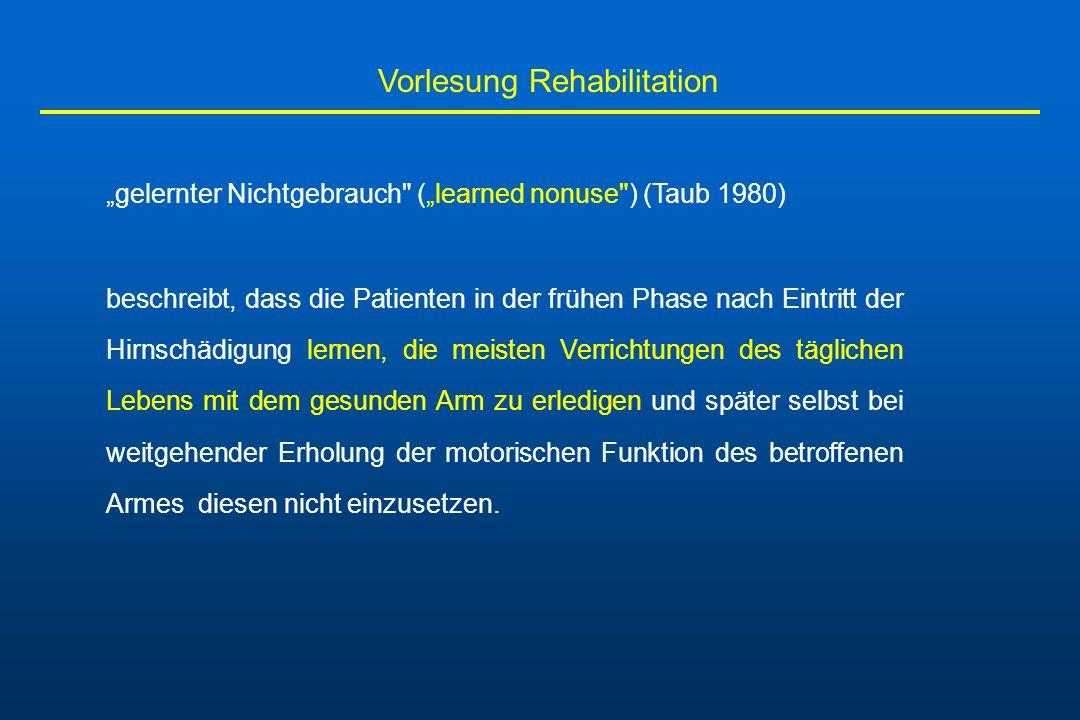 Vorlesung Rehabilitation gelernter Nichtgebrauch