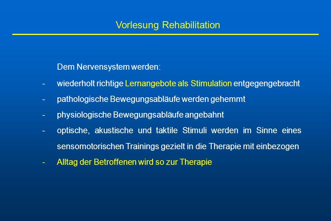Vorlesung Rehabilitation 2.Die Propriozeptive Neuromuskuläre Fazilitation (PNF) Die Methode zielt darauf ab, die Kontraktion einzelner paretischer Muskelgruppen im Rahmen von synergistischen Aktivierungs- mustern anzubahnen.