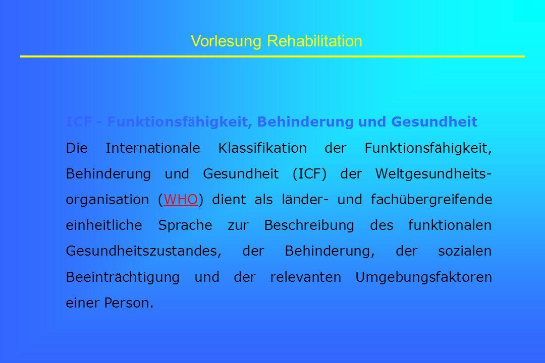 Vorlesung Rehabilitation ICF - Funktionsf ä higkeit, Behinderung und Gesundheit Die Internationale Klassifikation der Funktionsf ä higkeit, Behinderun