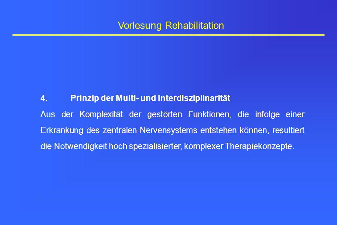 Vorlesung Rehabilitation 4.Prinzip der Multi- und Interdisziplinarität Aus der Komplexität der gestörten Funktionen, die infolge einer Erkrankung des