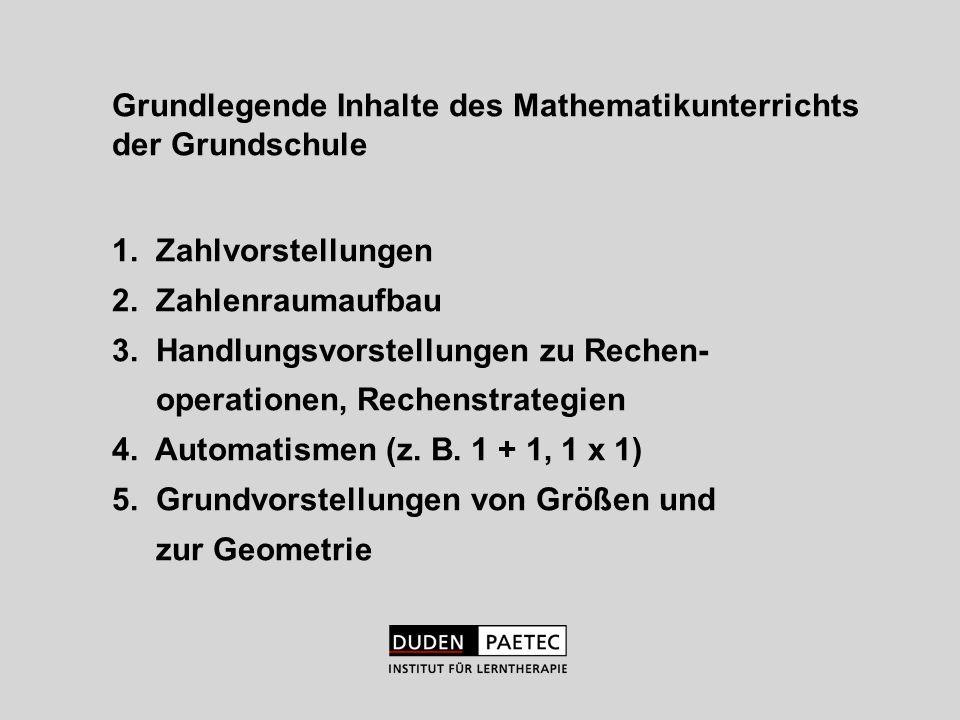 Grundlegende Inhalte des Mathematikunterrichts der Grundschule 1. Zahlvorstellungen 2. Zahlenraumaufbau 3. Handlungsvorstellungen zu Rechen- operation