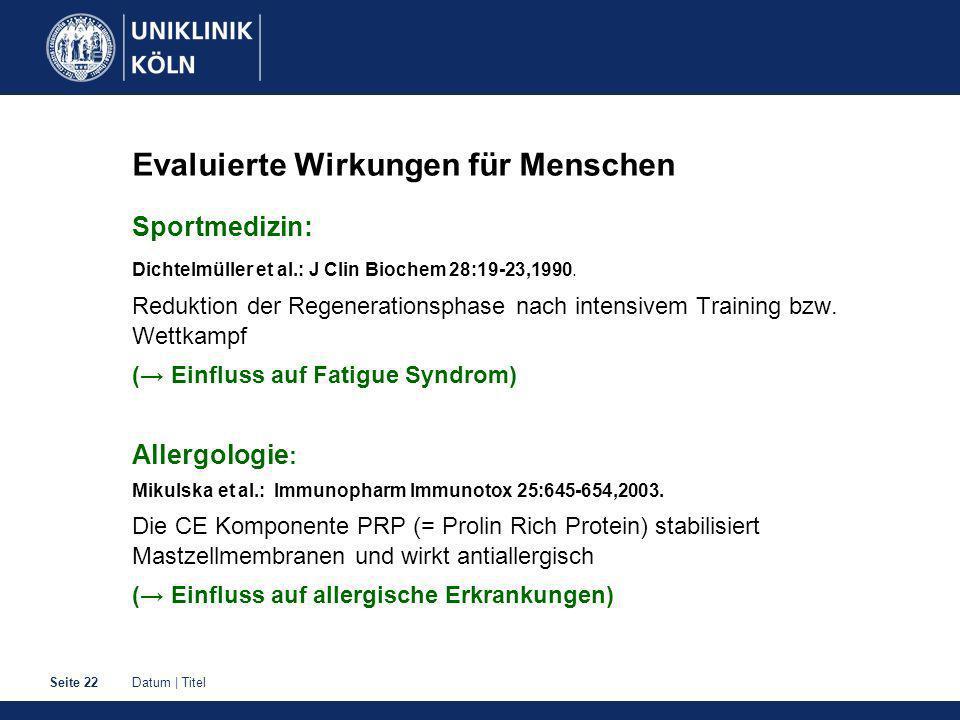 Datum | TitelSeite 22 Evaluierte Wirkungen für Menschen Sportmedizin: Dichtelmüller et al.: J Clin Biochem 28:19-23,1990.