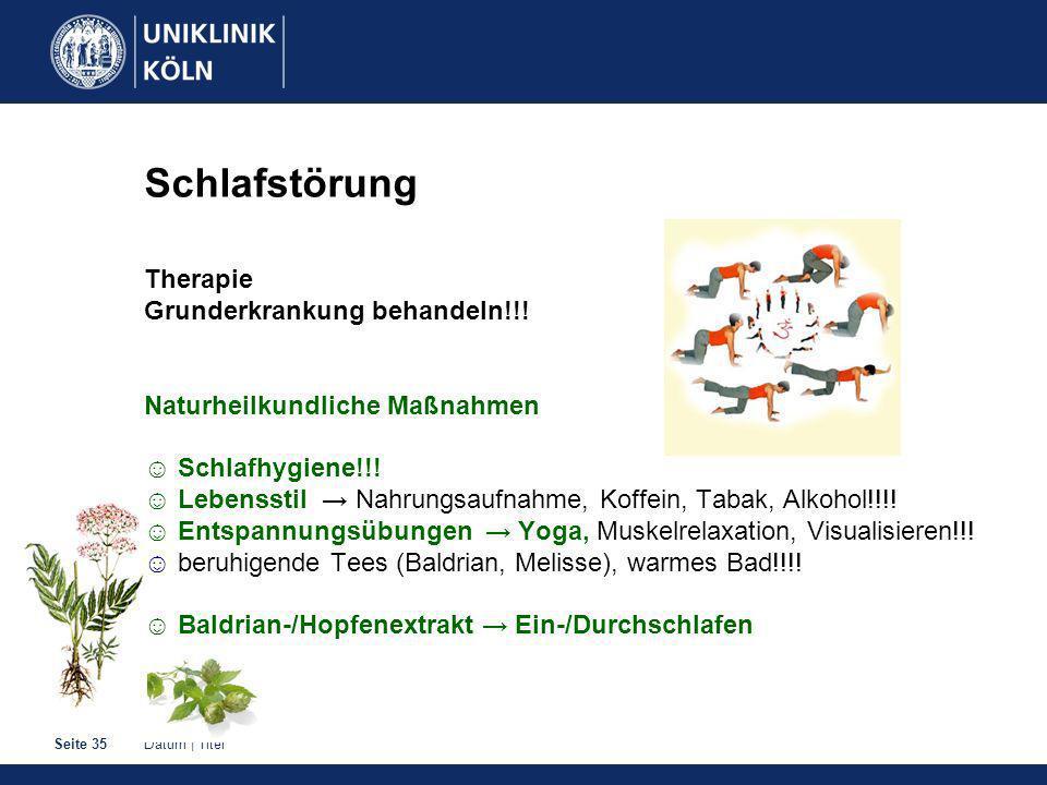 Datum | TitelSeite 35 Schlafstörung Therapie Grunderkrankung behandeln!!.