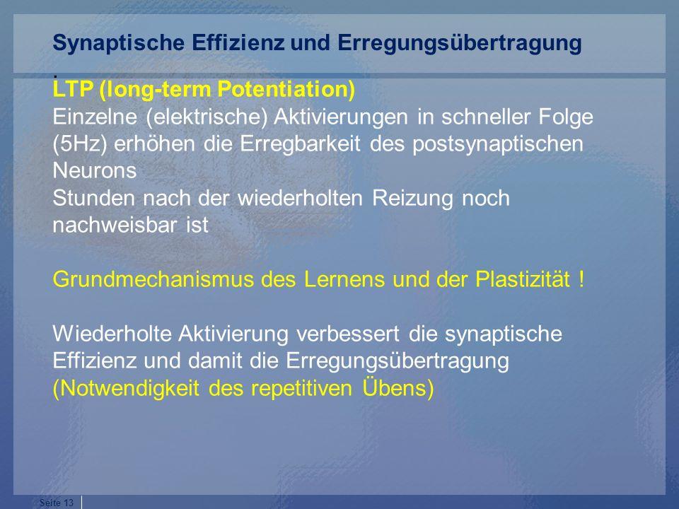 Seite 13 LTP (long-term Potentiation) Einzelne (elektrische) Aktivierungen in schneller Folge (5Hz) erhöhen die Erregbarkeit des postsynaptischen Neurons Stunden nach der wiederholten Reizung noch nachweisbar ist Grundmechanismus des Lernens und der Plastizität .