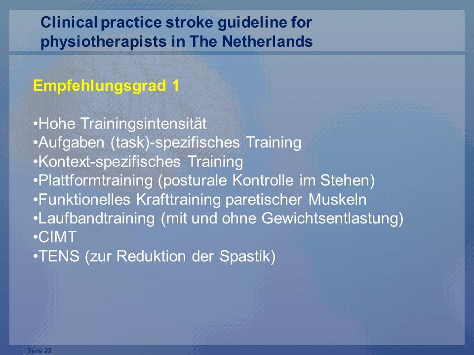 Seite 22 Empfehlungsgrad 1 Hohe Trainingsintensität Aufgaben (task)-spezifisches Training Kontext-spezifisches Training Plattformtraining (posturale K
