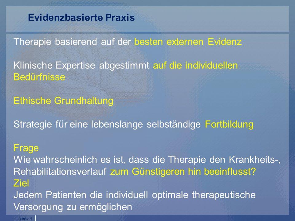 Seite 4 Therapie basierend auf der besten externen Evidenz Klinische Expertise abgestimmt auf die individuellen Bedürfnisse Ethische Grundhaltung Strategie für eine lebenslange selbständige Fortbildung Frage Wie wahrscheinlich es ist, dass die Therapie den Krankheits-, Rehabilitationsverlauf zum Günstigeren hin beeinflusst.