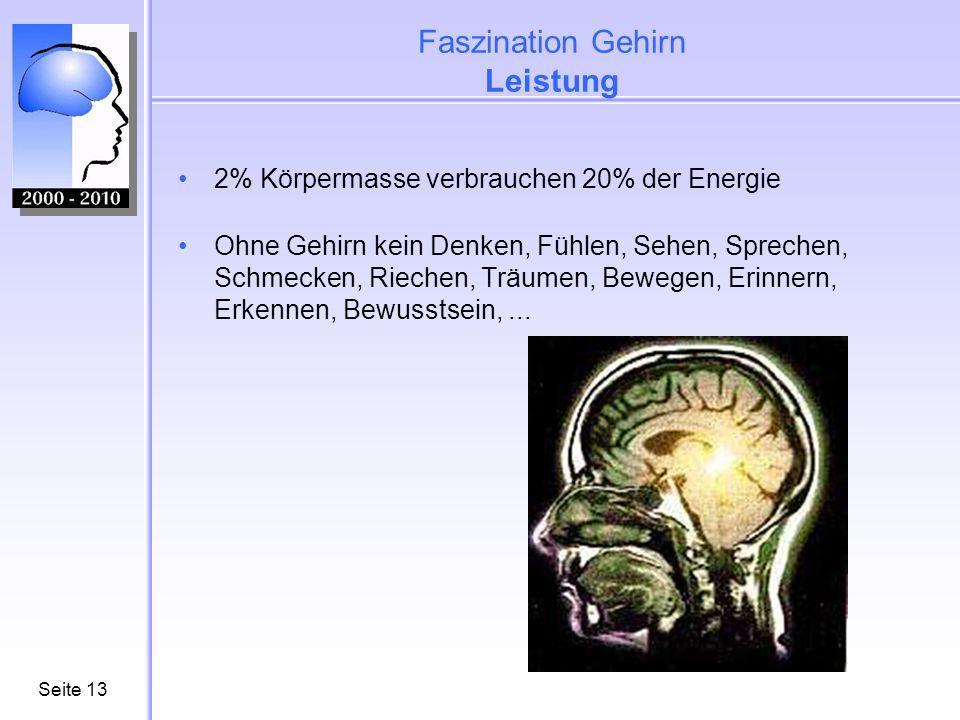 Seite14 Faszination Gehirn Schnelligkeit 360 km/h schnell ist die Übertragungsgeschwindigkeit von Informationen zwischen zwei Nervenzellen Übertragungsrate im gesamten Zentralen Nervensystem: ca.