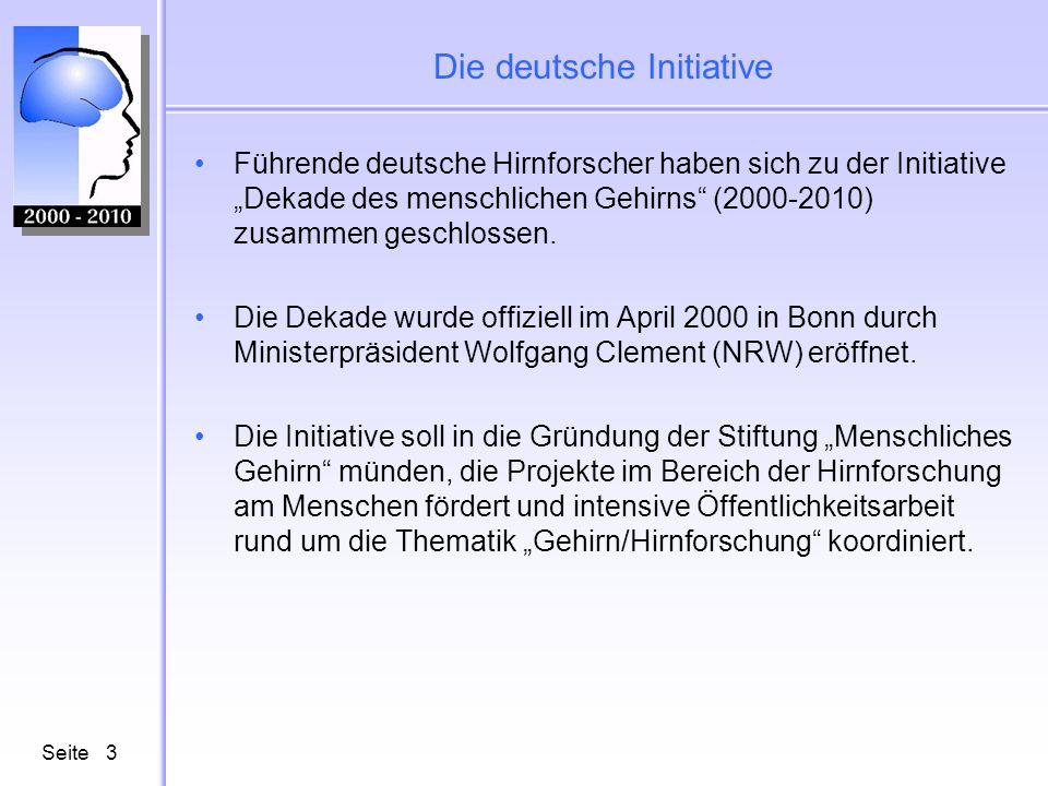 Seite3 Die deutsche Initiative Führende deutsche Hirnforscher haben sich zu der Initiative Dekade des menschlichen Gehirns (2000-2010) zusammen geschlossen.