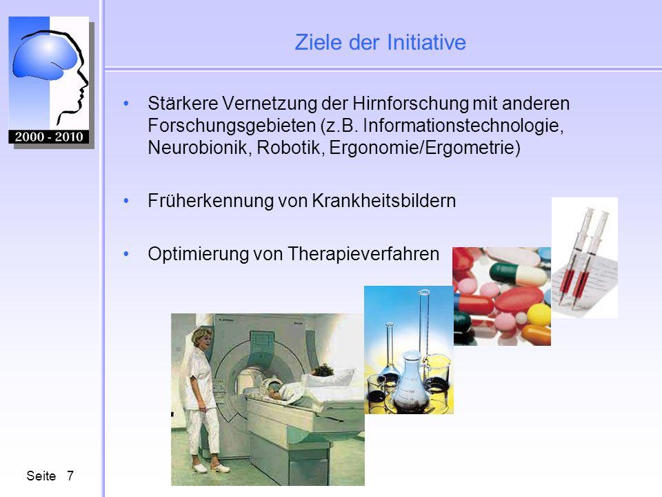 Seite7 Ziele der Initiative Stärkere Vernetzung der Hirnforschung mit anderen Forschungsgebieten (z.B.