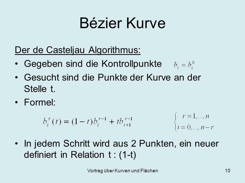 Vortrag über Kurven und Flächen10 Bézier Kurve Der de Casteljau Algorithmus: Gegeben sind die Kontrollpunkte Gesucht sind die Punkte der Kurve an der