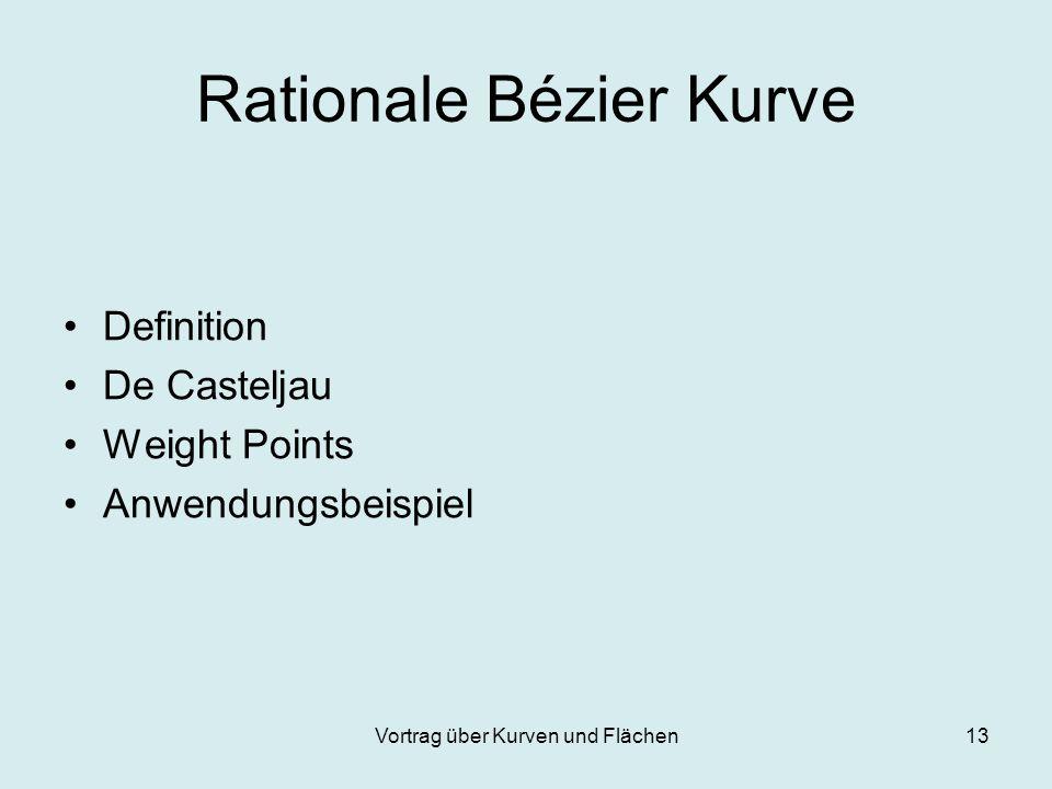 Vortrag über Kurven und Flächen13 Rationale Bézier Kurve Definition De Casteljau Weight Points Anwendungsbeispiel
